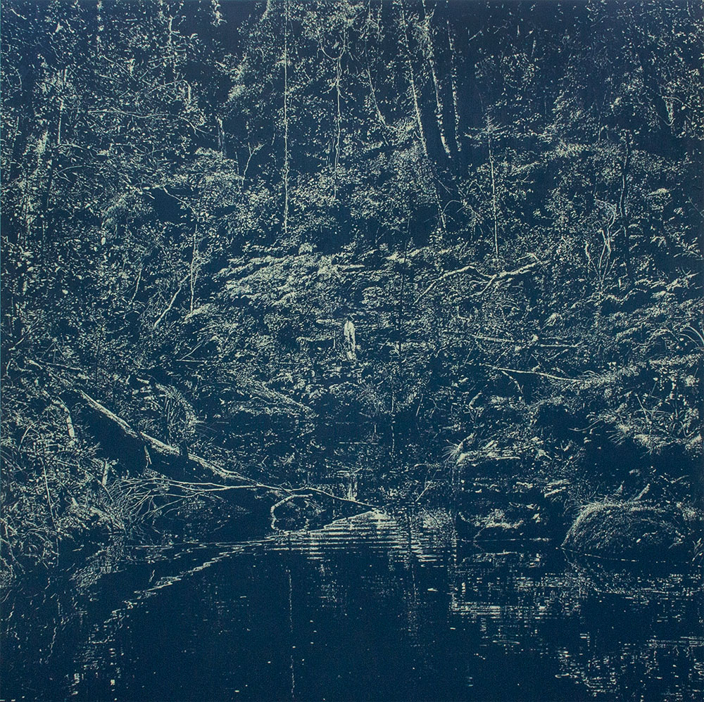 Peter Eastman, Deep Chine (Blue) 2015. Oil on Aluminium. 200 x 200cm. Image courtesy of Smac.