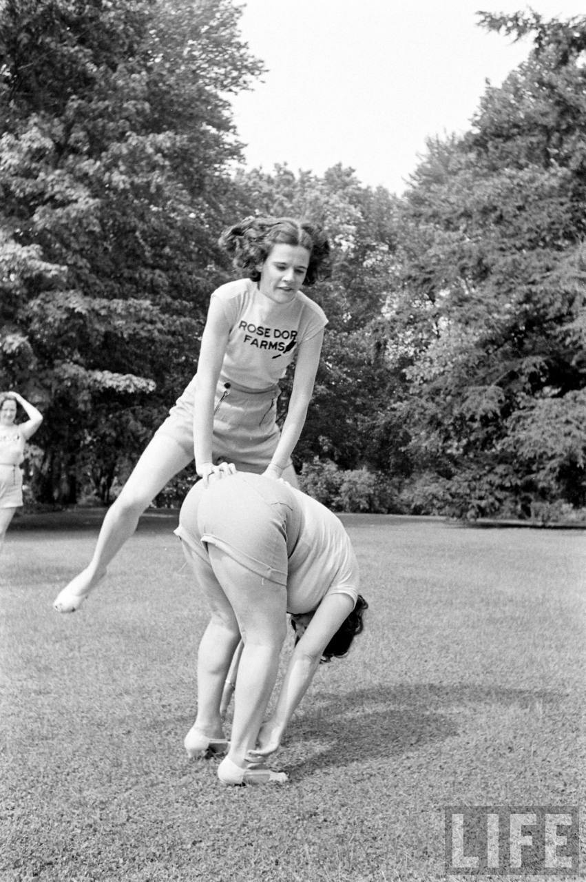 Great vintage photos from a 1930s weight loss and exercise farm.