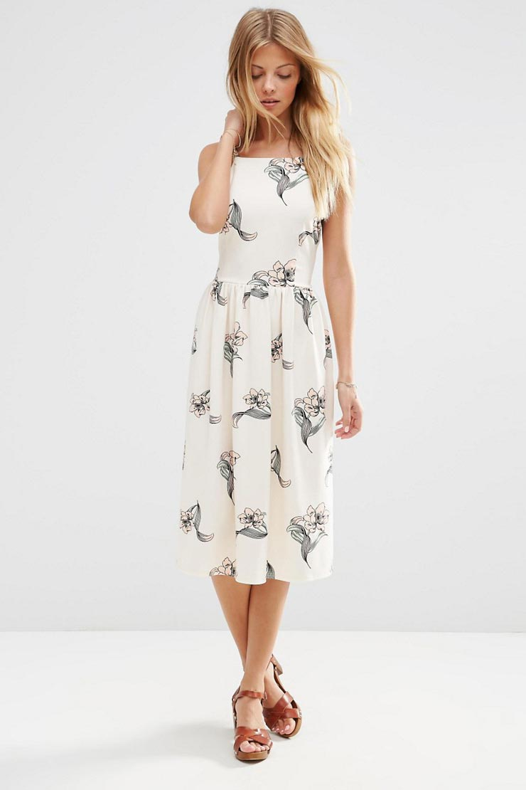 High Neck Occasion Midi Dress in Pretty Floral Print
