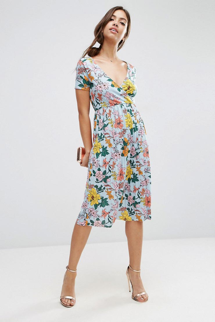 Midi Dress with Pleats in Floral Print