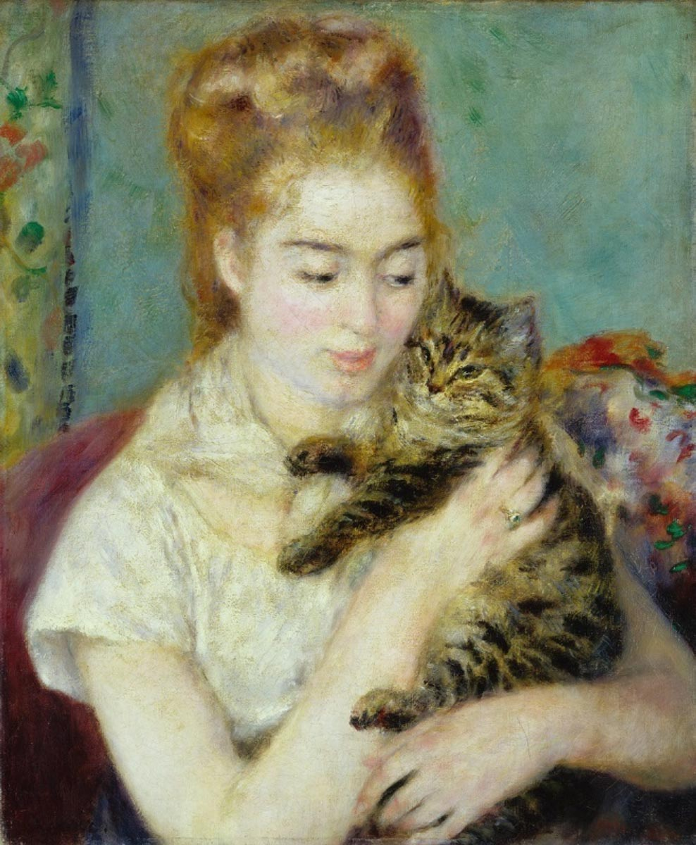PIERRE-AUGUSTE RENOIR, Woman with a Cat, ca. 1875